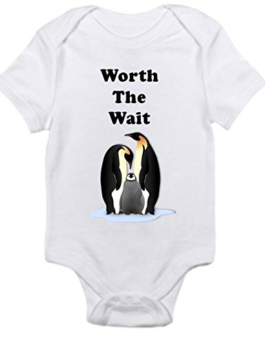 Worth the Wait Penguin Family Shirt Cute Infant Baby Onesie 0-3 months month -