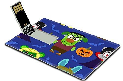 Luxlady 32GB USB Flash Drive 2.0 Memory Stick Credit Card Size IMAGE ID: 31870698 Halloween background seamless with animal in Halloween (Halloween History Costumes)