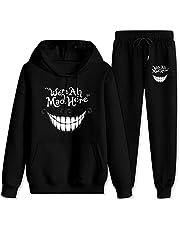 We 're All Mad Here Cheshire Cat Unisex Trainingspak Hooded Sweatshirts Outfit 2-delig Hoodies Top en Sweatpants Pak voor Vrouwen Mannen