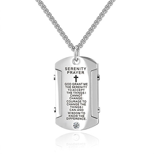 Godcow Stainless Steel Cross and Serenity Prayer Dog Tag Pendant Necklace with Diamond for Men, Chain 22