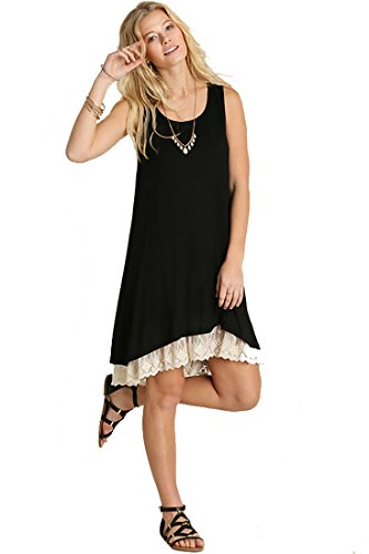 Umgee Oh Me Oh My! Sheer Knit Tank Dress Lined With Lace Trim (1XL, Black) Lace Trim Tank Dress