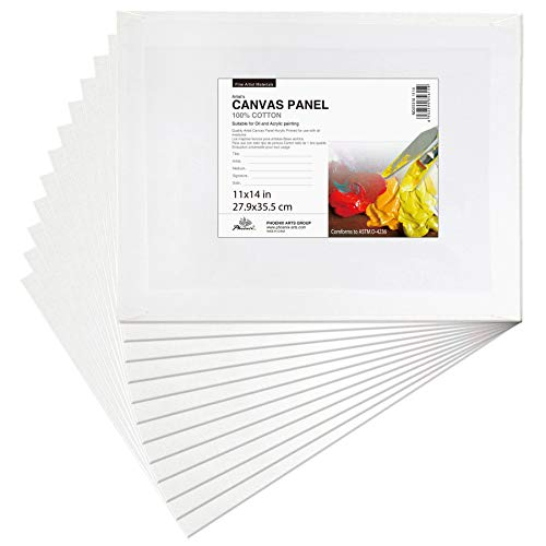 PHOENIX Painting Canvas Panel Boards - 11x14 Inch / 12 Pack - 1/7 Inch Deep Super Value Pack for Professional Artists, Students & Kids from Phoenix