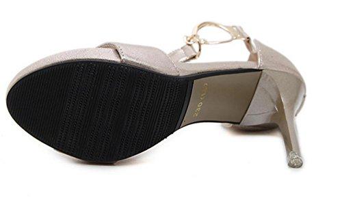 Rome High fashion metal Womens Size Shoes Sandals Fashion MNII button Gold Heel summer 5wIAXEq