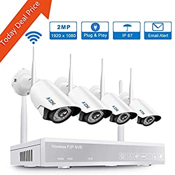 Image of A-ZONE Wireless Security Camera System, 4CH 1080P Full HD NVR with 4pcs 1080P HD Indoor Outdoor Wireless IP Cameras Night Vision,Easy Remote View,No Hard Drive Surveillance NVR Kits