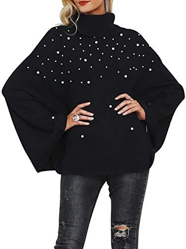 BerryGo Women's High Neck Loose Cloak Batwing Sleeve Oversized Cape Sweater Jumper Black,One ()