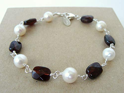 Garnet and cultured pearl bracelet, hand wired with Argentium silver and sterling clasp, 7.5 inches, classic gemstone combination, Let Loose Jewelry