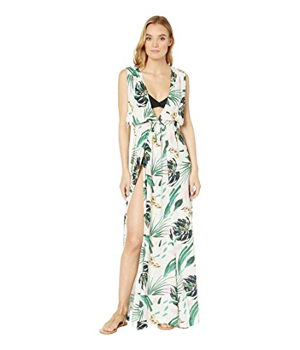 BCBG Women's Overlap Plunge Maxi Crossback Dress Cover-Up, Multi//Tropicals, M (Bcbgmaxazria Dress Women)
