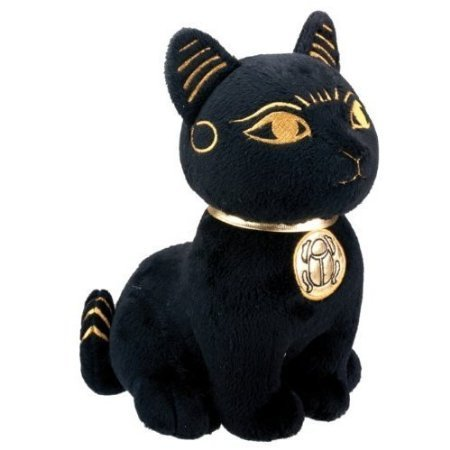 Egyptian Smaller Black and Gold Bastet Cat Kitten Egyptian Stuffed Plush Doll-H (Plush Egyptian Toy)