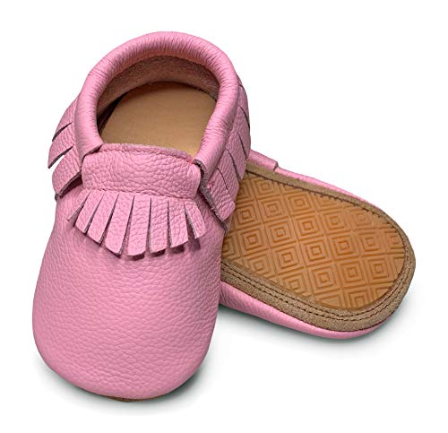 Lucky Love Baby Moccasins • Premium Leather • Infant, Baby & Toddler Shoes for Girls and Boys (5 | 2-2.5 Y | 6 inches, Hard Sole Pink) -