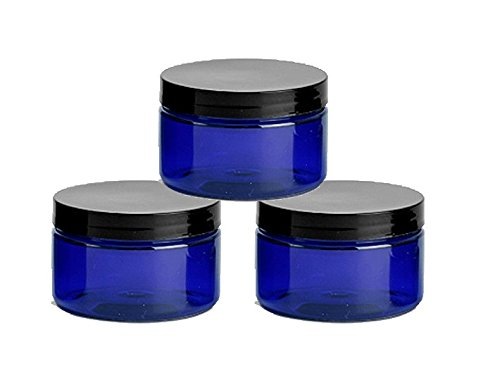 6 Cobalt Blue Low Profile 4 Oz Jars PET Plastic Empty Cosmetic Containers, Black Caps, Sugar Scrub, Powder, Body Cream, Lotion, Beads by Grand Parfums (Empty Jars)