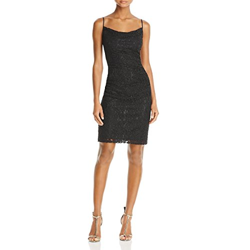 Laundry by Shelli Segal Womens Lace Shirred Cocktail Dress Black 2 Shirred Cocktail