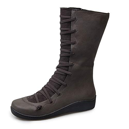 Women Flat Low Heels Wide Calf Boots Soft Sole Comfort Shoe with Arch Support Lace up Zipper Western Booties