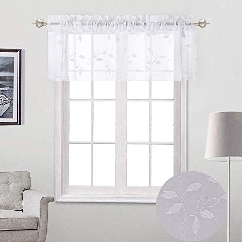 Haperlare White Sheer Valance Curtains, Leaf Embroidery Window Treatment Voile Valances for Small Window/Kitchen, Faux Linen Textured Rod Pocket Embroidered Valance Drapes, 52 x 15 Inch, 1 Panel ()