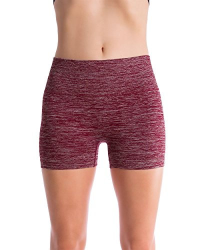 Homma Women's Seamless Compression Heathered Active Yoga Shorts Running Shorts Slim Fit (Small, H.Burgandy)