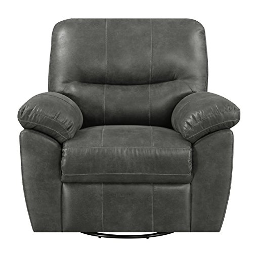 Swivel Reclining Glider With Faux Leather, Pillow Top Back, And Padded Arms