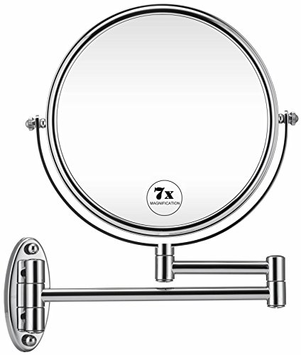 GloRiastar 7X Wall Mounted Makeup Mirror - Double Sided Magnifying Makeup Mirror for Bathroom, 8 Inch Extension Polished Chrome Finished Mirror by GloRiastar
