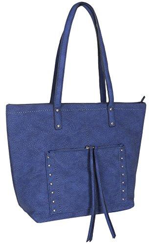 Sondra Roberts Ladies Handbags Napa Small Hobo Blue ()