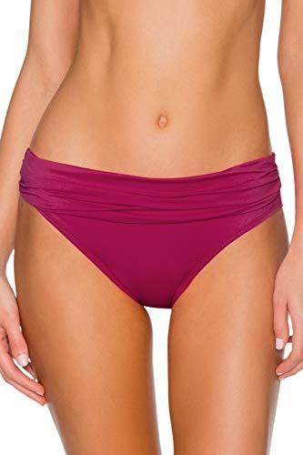 - Sunsets Women's Unforgettable Shirred Band Bikini Bottom Swimsuit, Pink Poppy, Small