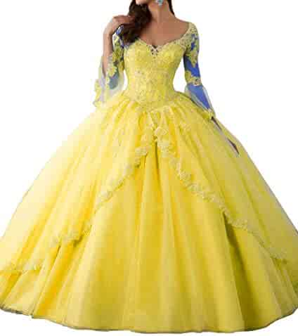 9cf5dae90ac Suzy Bridal Ball Gown Long Sleeve Tulle Quinceanera Dress Appliques Prom  Dresses