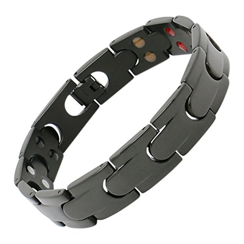 Ionic Magnetic Therapy Bracelet Brushed Black