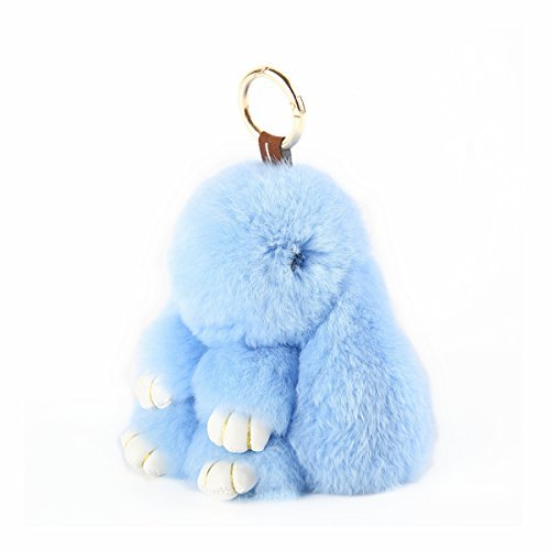 YISEVEN Stuffed Bunny Keychain Toy - Soft and Fuzzy Large Stitch Plush Rabbit Fur Key Chain - Cute Fluffy Bunnies Floppy Furry Animal Doll Gift for Girl Women Purse Bag Car Charm - Blue