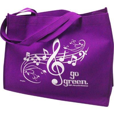 Purple Gift House Music Staff Reusable Tote Bag