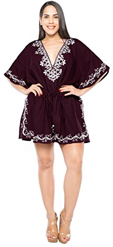 La Leela ropa de playa ray�n bordado blusa traje de ba�o bikini traje de ba�o de las mujeres cubre para arriba oscuro
