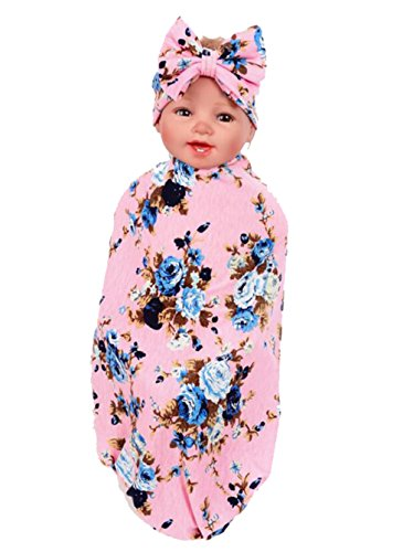 Hcside Newborn Infant Floral Swaddle Wrap Baby Swaddling Sleeping Bag Blanket Headband (Pink)