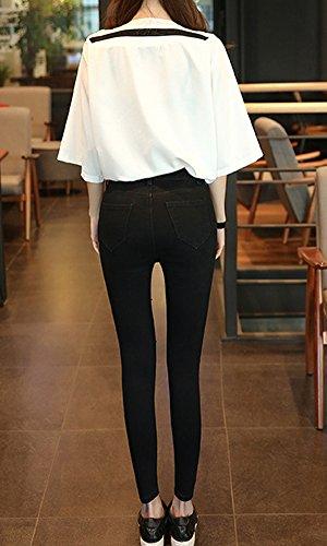 Haute 3 Crayon Printemps Femme Jeans Slim Noir Denim Taille Pantalons Leggings Collant Dchirs ST7qYwz