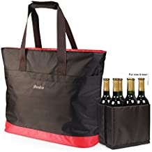 Becko Waterproof Thermal Cooler Freezer Tote ShoppingGroceryBag For CampingTravelingBoating Fishing(Small, Brown)