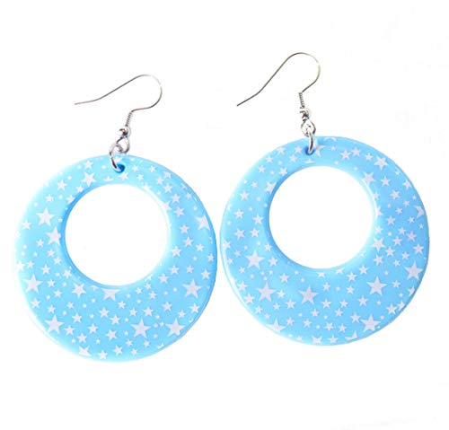 Candy Apple Costumes Star Print Pastel Hoop Dangle Earrings (Light Blue)