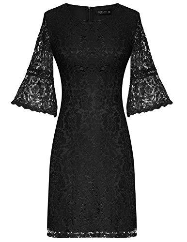 MAVIS LAVEN Elegant 3/4 Sleeve Full Floral Lace Short Dress Party Evening Wedding Prom Black