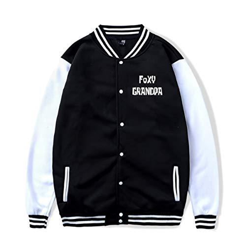 Foxy Grandpa Baseball Jacket Uniform Hooded Coat for Unisex Black