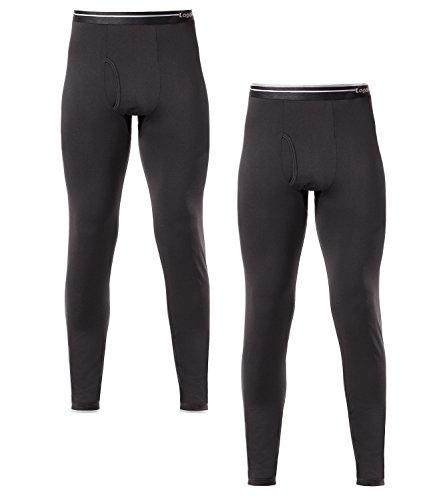 Lapasa Men's 2-Pack Fleece Lined Thermal Underwear Pants (Medium, Black) (Thermal Underwear Wicking)