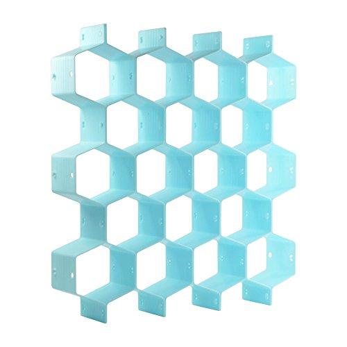 - KLOUD City Household Light Blue Plastic Partition Bee Style Underwear Socks Bras Ties Belts Scarves Drawer Divider Cabinet Clapboard (Light Blue)