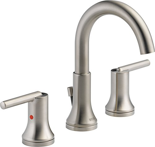 Stainless Faucet Handle 2 Lavatory - Delta Faucet Trinsic 2-Handle Widespread Bathroom Faucet with Diamond Seal Technology and Metal Drain Assembly, Stainless 3559-SSMPU-DST