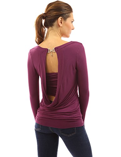 PattyBoutik Women's Cowl Neck Backless Buckle Twinset Top (Dark Magenta M)