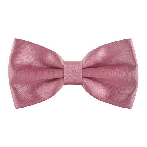 (Satin Classic Pre-Tied Bow Tie Formal Solid Tuxedo, by Bow Tie House (Small,)