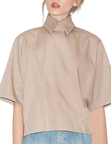 Khaki Tan Crop (RICHKOKO Women High Neck Wide Half Sleeve Zipper Loose Shirt Crop Top(S,Khaki))