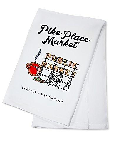 Pike Place Market Sign (Seattle, Washington - Pike Place Market Sign (100% Cotton Kitchen Towel))