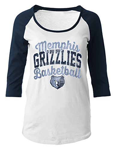 NBA Memphis Grizzlies Women's 100% Cotton Baby Jersey 3/4 Sleeve Scoop Neck Tee, Large, Navy