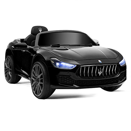 Costzon Licensed Maserati Ride on Car, 12V Rechargeable Battery Powered Electric Car w/ 2 Motors, Parental Remote Control & Manual Modes, LED Lights, MP3 (Black) (Car Licensed)