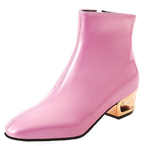 Tacco Stivaletti Signore Pu Zpffe Festa Sexy Stivali Pink Pelle Punta Donna Medio Cerniera aqEXE8