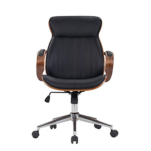 IDS Home Bentwood Swivel Office Chair, Black