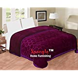 Spangle Floral Embossed Mink Double Blanket Wine