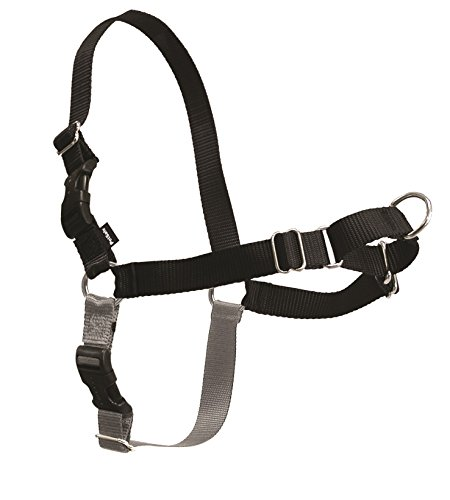 PetSafe Easy Walk Dog Harness, No Pull Dog Harness, Black/Silver, Large