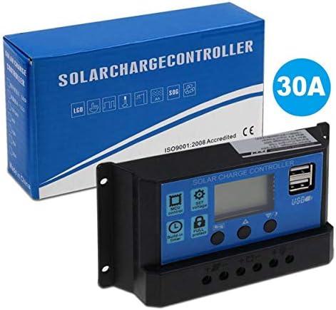 Lorenlli PWM Solarpanel Regler 30A 12V-24V Auto Dual USB Digitalanzeige Solarladeregler für Blei-Säure-Batterien