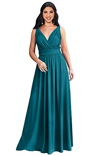 (KOH KOH Womens Long Sleeveless Flowy Bridesmaids Cocktail Party Evening Formal Sexy Summer Wedding Guest Ball Prom Gown Gowns Maxi Dress Dresses, Blue/Green Jade L 12-14 )