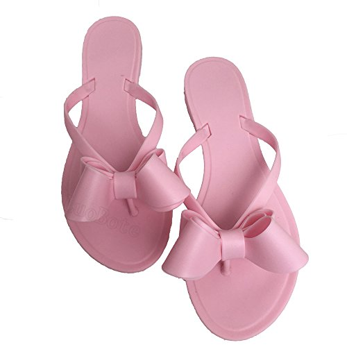 Mtzyoa Women Stud Bow Flip-Flops Sandals Beach Flat Rivets Rain Jelly Shoes -