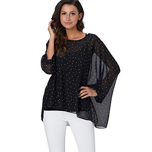 - Wiwish Women's Bohemian Style Summer Beach Lagenlook Top Kimono Loose Waterfall Chiffon Kaftan Poncho Shirt (Black dot)